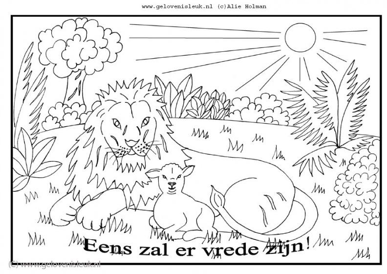 Christelijke Kleurplaten Kerst Leeuw En Lam Eens Zal Er Vrede Zijn Clipart Geloven Is Leuk