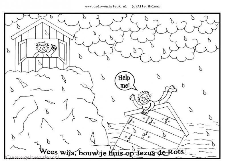Bijbelse Kleurplaten Huis Op De Rots.Wees Wijs Bouw Je Huis Op Jezus De Rots Clipart Geloven Is Leuk
