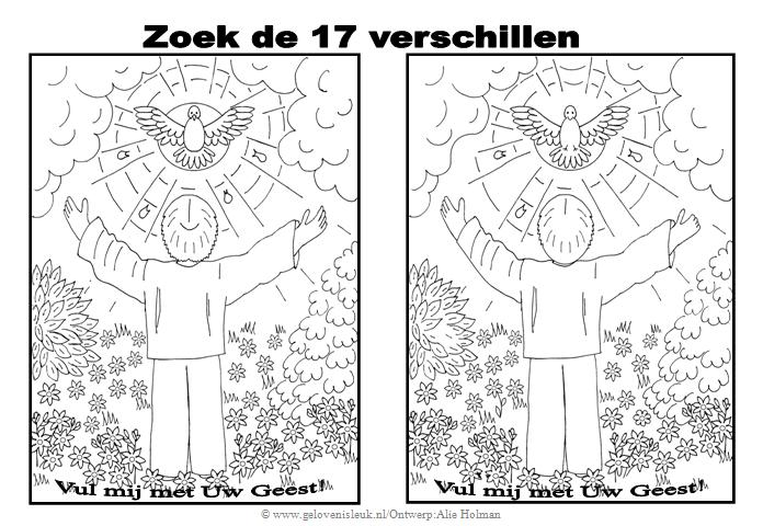 Christelijke Kleurplaten Schepping Ontvang De Heilige Geest Zoek De Verschillen
